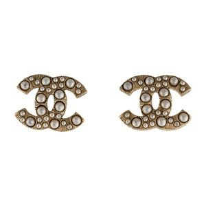 Chanel Brushed Gold & Pearl CC Earrings
